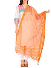 Orange Visocse Plain Dupatta - By