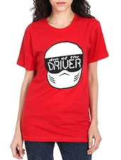 red cotton printed tee -  online shopping for Tees