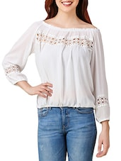 white crepe balloon top -  online shopping for Tops