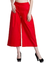 solid red cotton culottes -  online shopping for Capris