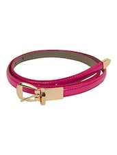 Solid Pink Leatherette Belt - By