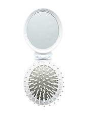 Elite Models Compact Pocket Folding Hair Brush + Mirror - White - By