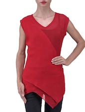 Solid Red Asymmetrical Georgette Top - By