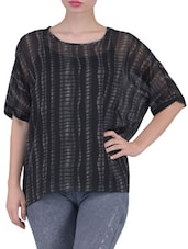 Black And Grey Printed Georgette Top - By