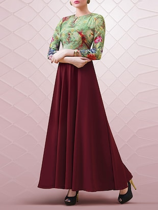 maroon georgette gown -  online shopping for gowns