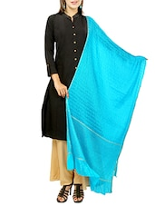 Turquoise Art Silk Plain Dupatta - By