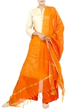 Orange Art Silk Plain Dupatta - By