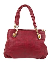 Red Faux Leather Solids Shoulder Bag - By