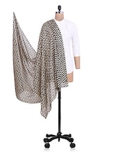 Beige And Black Chevron Printed Cotton Dupatta - By