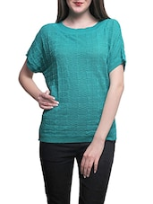 Teal poly cotton knitted top -  online shopping for Tops