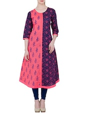 Pink And Blue Cotton Block Printed A-line Kurta - By