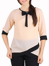 beige georgette front bow tie up top -  online shopping for Tops