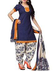 blue polyester printed patiyala suit dress material -  online shopping for Dress Material