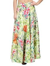 multicolored floral printed silk blend maxi skirt -  online shopping for Skirts