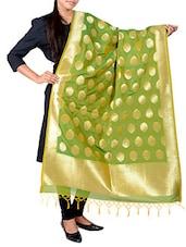 Green Colored Banarasi Dupatta - By
