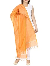 Orange Cotton Blend Plain Dupatta - By