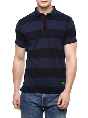 navy blue cotton striped t-shirt -  online shopping for T-Shirts