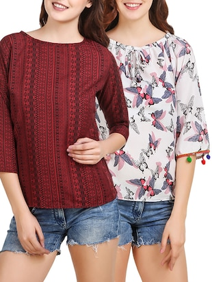 set of 2 multicolored crepe top -  online shopping for Tops