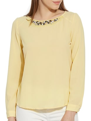 yellow georgette regular top -  online shopping for Tops