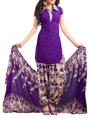purple crepe printed patiyala suit dress material -  online shopping for Dress Material