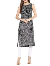 Black Poly Georgette Straight Kurta - By