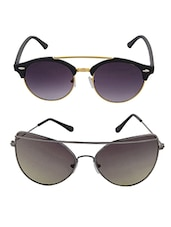 Aventus Sunglasses Combo-   Grey Twin-beam Cateyes Sunglasses & Round Clubmaster Sunglasses - By