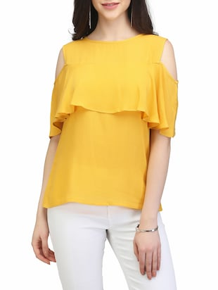 yellow rayon ruffle top -  online shopping for Tops
