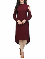 Maroon Polyester Highlow Kurta - By