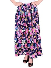 Blue rayon printed maxi skirt -  online shopping for Skirts