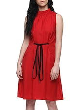 red poly crepe fit & flare dress -  online shopping for Dresses