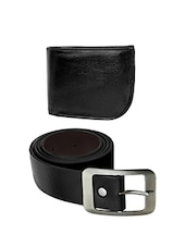 black leather wallet and a belt -  online shopping for Wallets