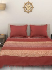 Yarn Dyed Cotton King Size Handloom Multicoloured Bed Spread ( Without Pillow Cover ) -  online shopping for bed covers