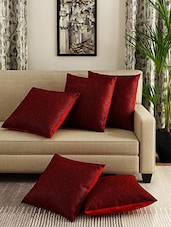 Romee Red Set Of 5 Cotton Cushion Cover - By