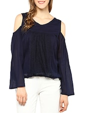navy blue crepe balloon top -  online shopping for Tops