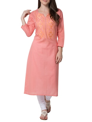 peach cotton straight kurta -  online shopping for kurtas