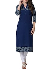 blue cotton straight kurta -  online shopping for kurtas