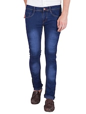 navy blue cotton blend washed jeans -  online shopping for Jeans