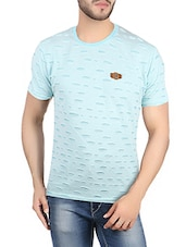 light blue cotton ripped t-shirt -  online shopping for T-Shirts