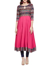 pink poly crepe printed anarkali kurta -  online shopping for kurtas