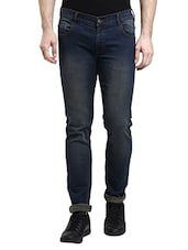 blue cotton blend washed jeans -  online shopping for Jeans