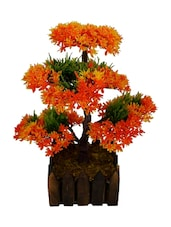 """Orange, Green Assorted Artificial Flower  With Pot (12 Inch, Pack Of 1)"""" - By"""