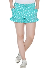 blue printed cotton regular short -  online shopping for Shorts