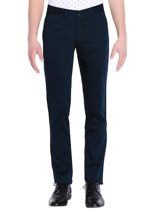 blue cotton chinos casual trousers -  online shopping for Casual Trousers