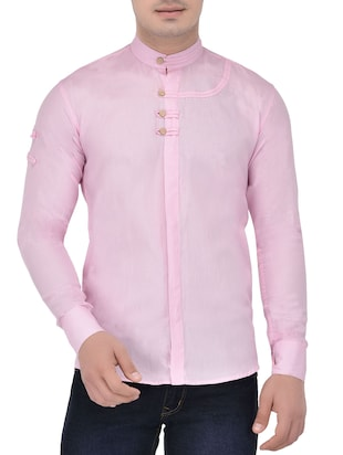 pink linen shirt -  online shopping for casual shirts