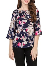 navy blue printed poly crepe regular top -  online shopping for Tops