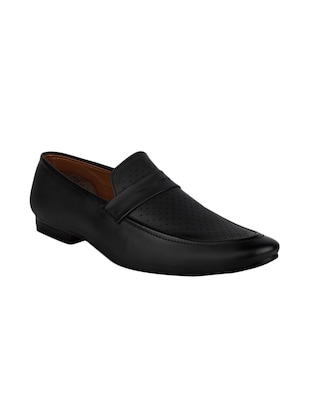 black leatherette slip on -  online shopping for Slip Ons