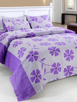 Cotton floral print double bedsheet with two pillow covers -  online shopping for bed sheet sets