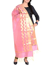 Pink Cotton Blend Banarasi Dupatta With Zari Weaving - By