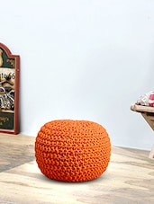 Romee Hand Knitted Orange Cotton Ottoman -  online shopping for Poufs & Ottomans