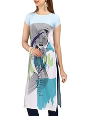 multi colored crepe printed straight kurta -  online shopping for kurtas